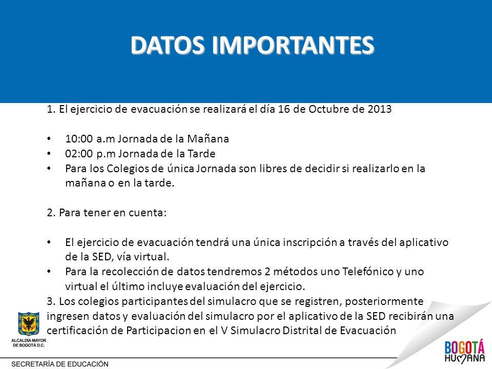 DATOS IMPORTANTES 1. El ejercicio de evacuación se realizará el día 16 de Octubre de 2013. 10:00 a.m Jornada de la Mañana.