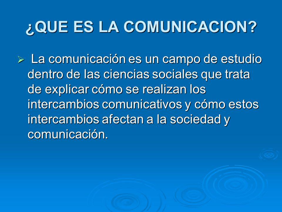 ¿QUE ES LA COMUNICACION