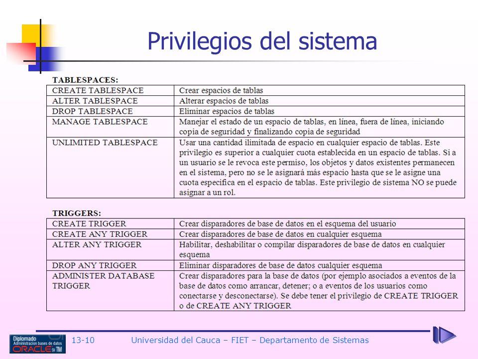 Privilegios del sistema