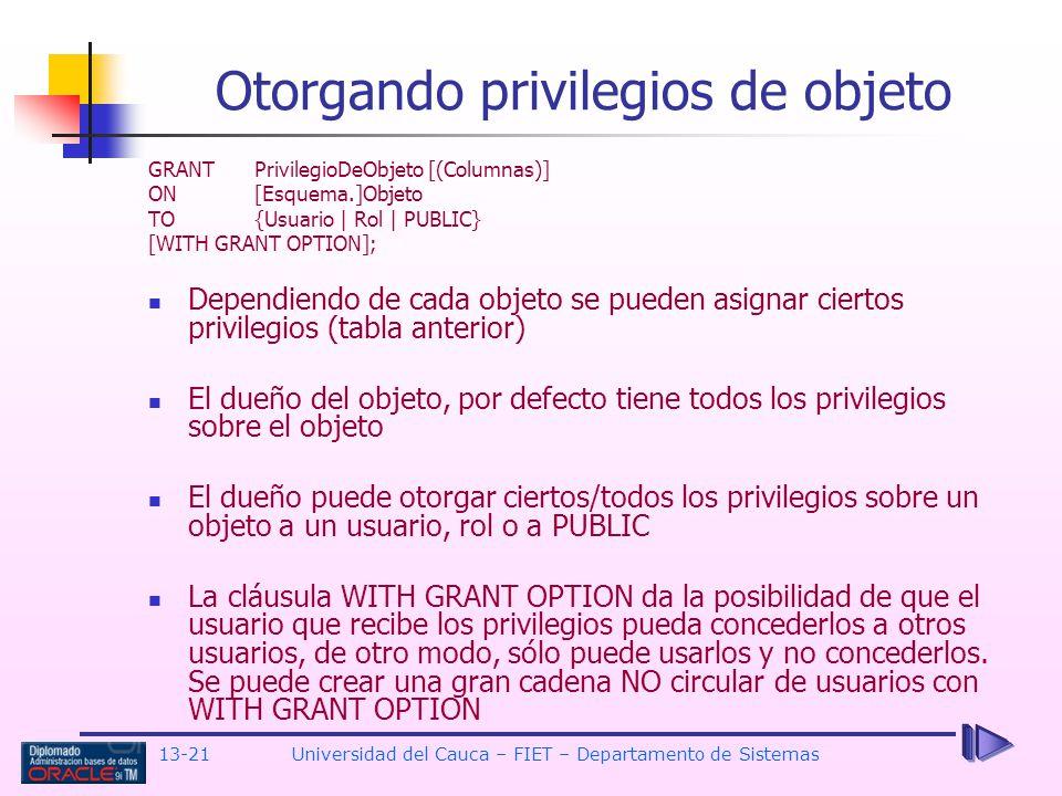 Otorgando privilegios de objeto