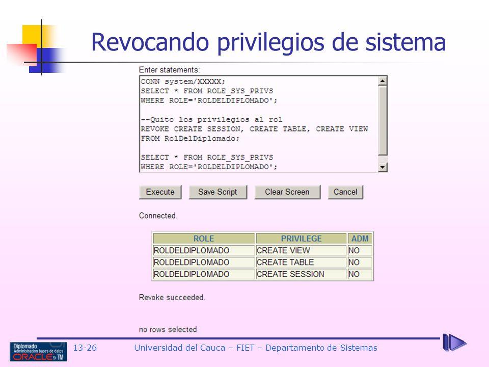 Revocando privilegios de sistema