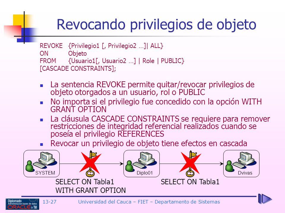 Revocando privilegios de objeto