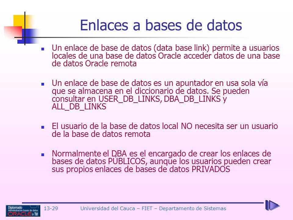 Enlaces a bases de datos