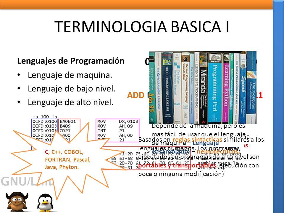 TERMINOLOGIA BASICA I 00001011011100001010 Lenguajes de Programación