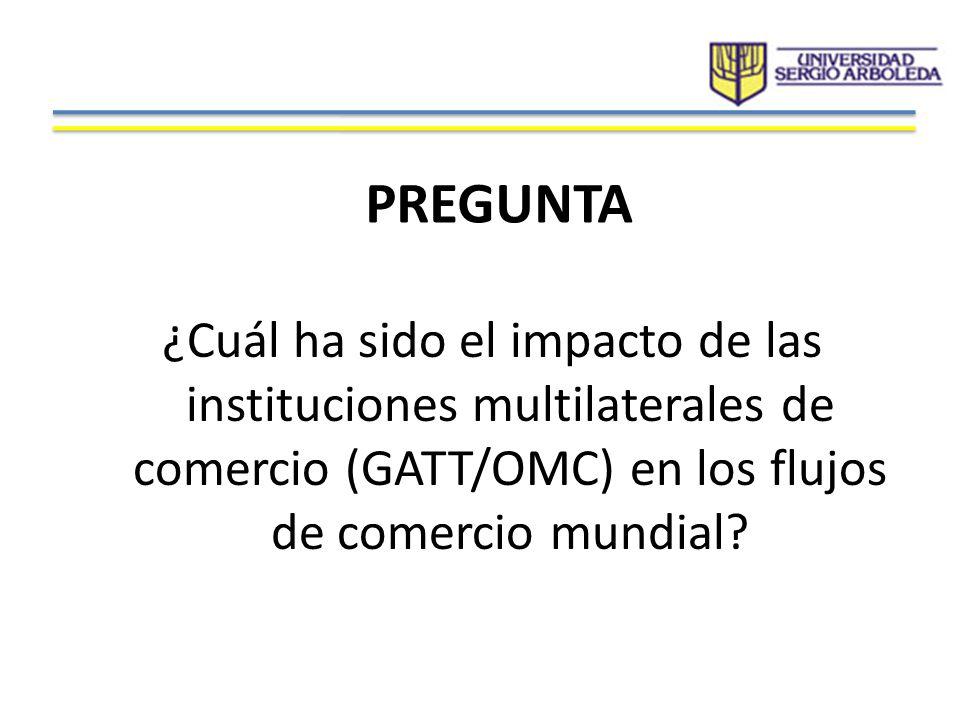 PREGUNTA ¿Cuál ha sido el impacto de las instituciones multilaterales de comercio (GATT/OMC) en los flujos de comercio mundial