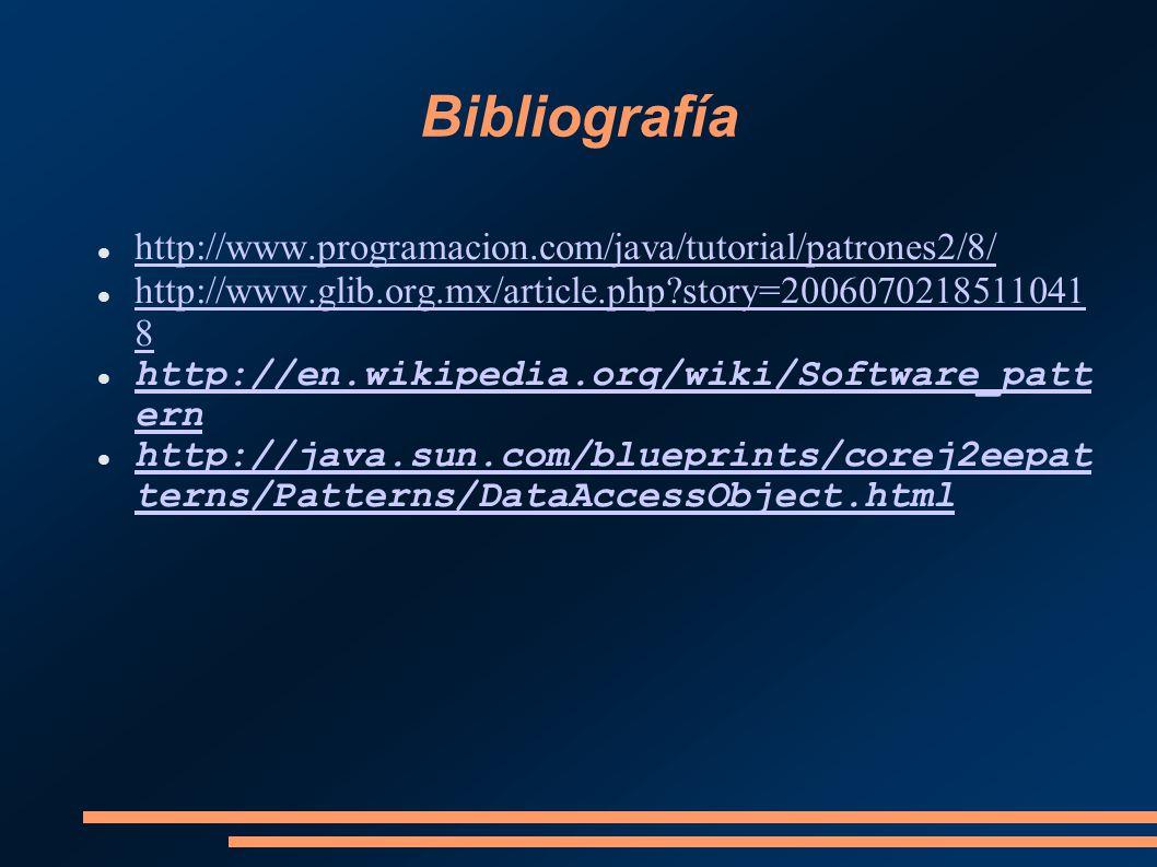 Bibliografía http://www.programacion.com/java/tutorial/patrones2/8/