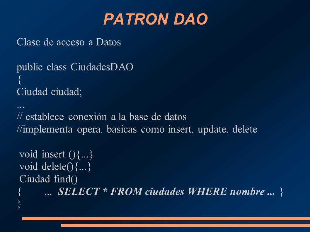 PATRON DAO Clase de acceso a Datos public class CiudadesDAO {