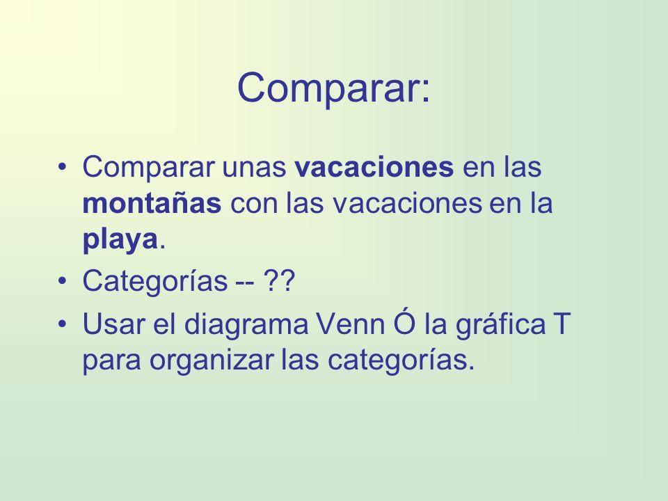 Comparar: Comparar unas vacaciones en las montañas con las vacaciones en la playa. Categorías --