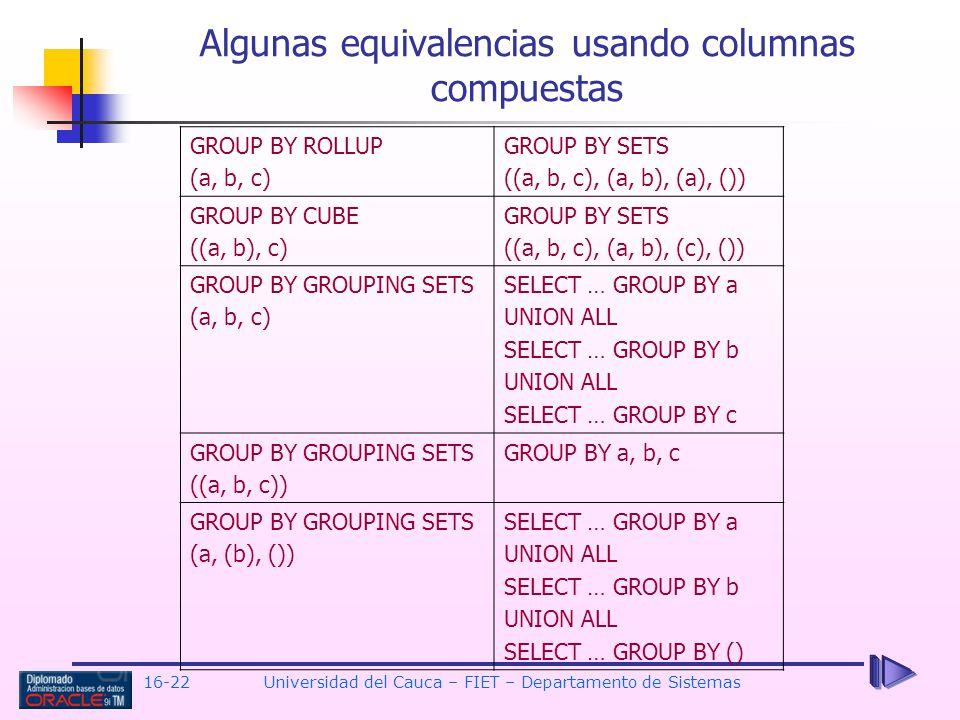 Algunas equivalencias usando columnas compuestas