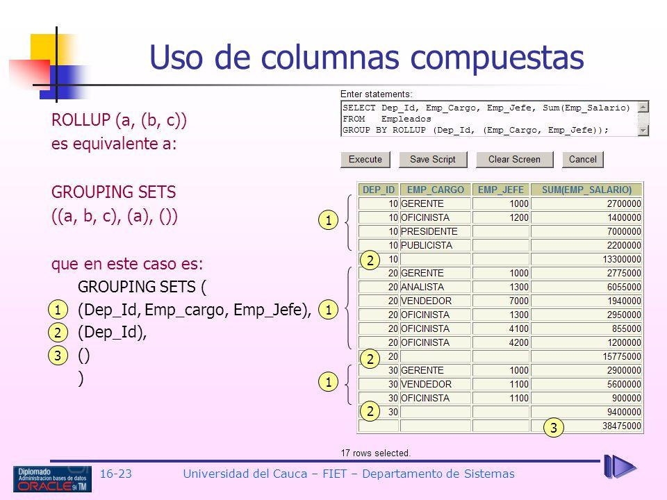 Uso de columnas compuestas