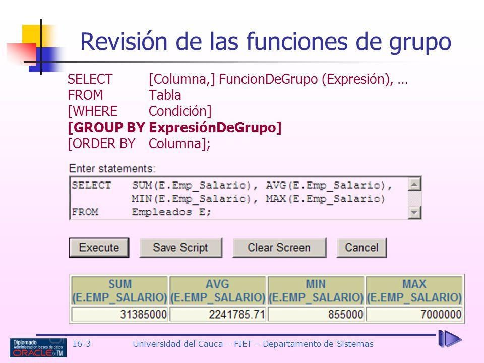 Revisión de las funciones de grupo