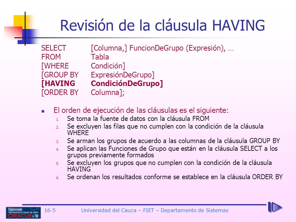 Revisión de la cláusula HAVING