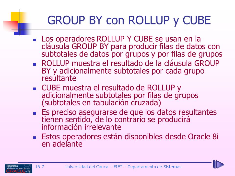 GROUP BY con ROLLUP y CUBE