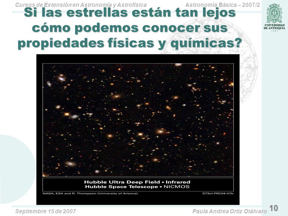 Si las estrellas están tan lejos cómo podemos conocer sus propiedades físicas y químicas