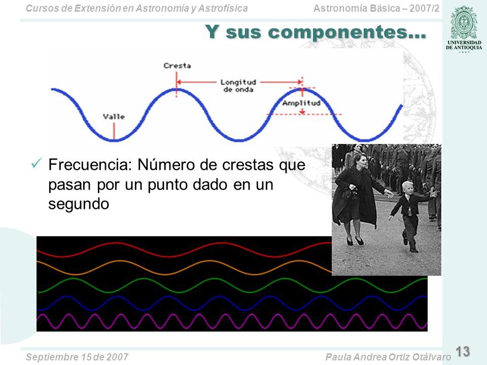 Y sus componentes… Frecuencia: Número de crestas que pasan por un punto dado en un segundo