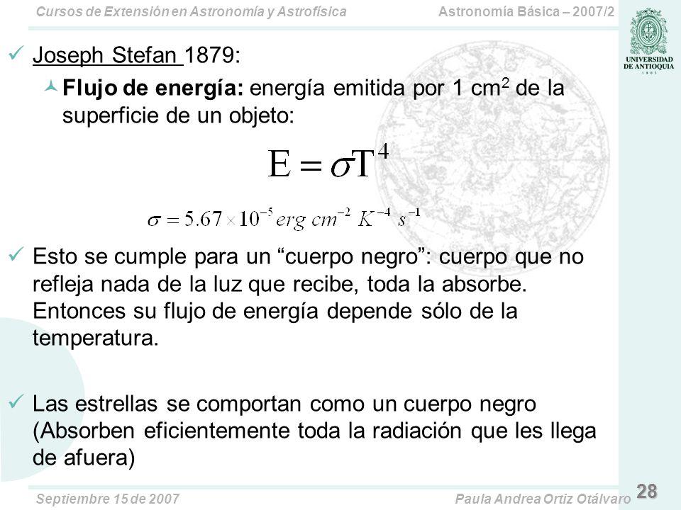 Joseph Stefan 1879: Flujo de energía: energía emitida por 1 cm2 de la superficie de un objeto: