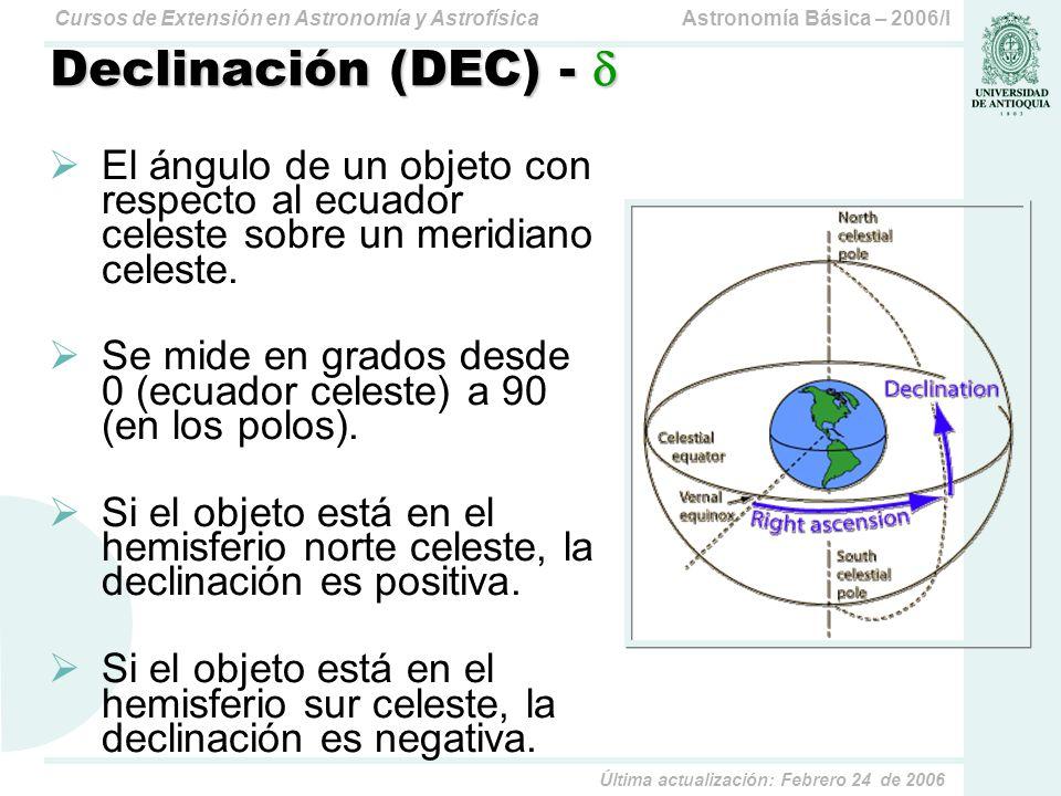 Declinación (DEC) -  El ángulo de un objeto con respecto al ecuador celeste sobre un meridiano celeste.