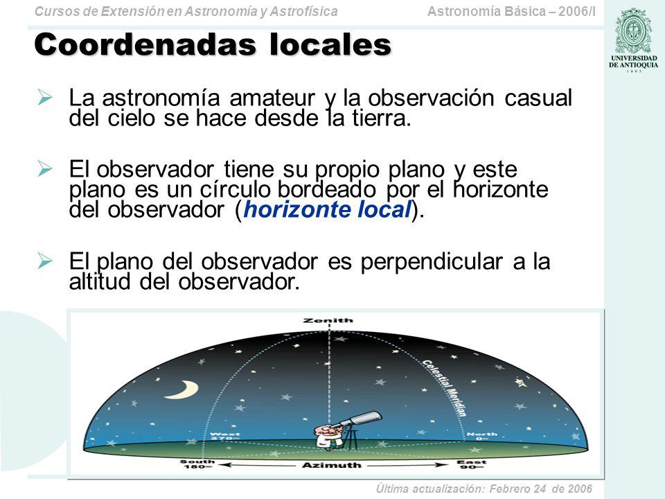 Coordenadas locales La astronomía amateur y la observación casual del cielo se hace desde la tierra.