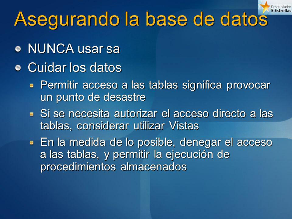 Asegurando la base de datos