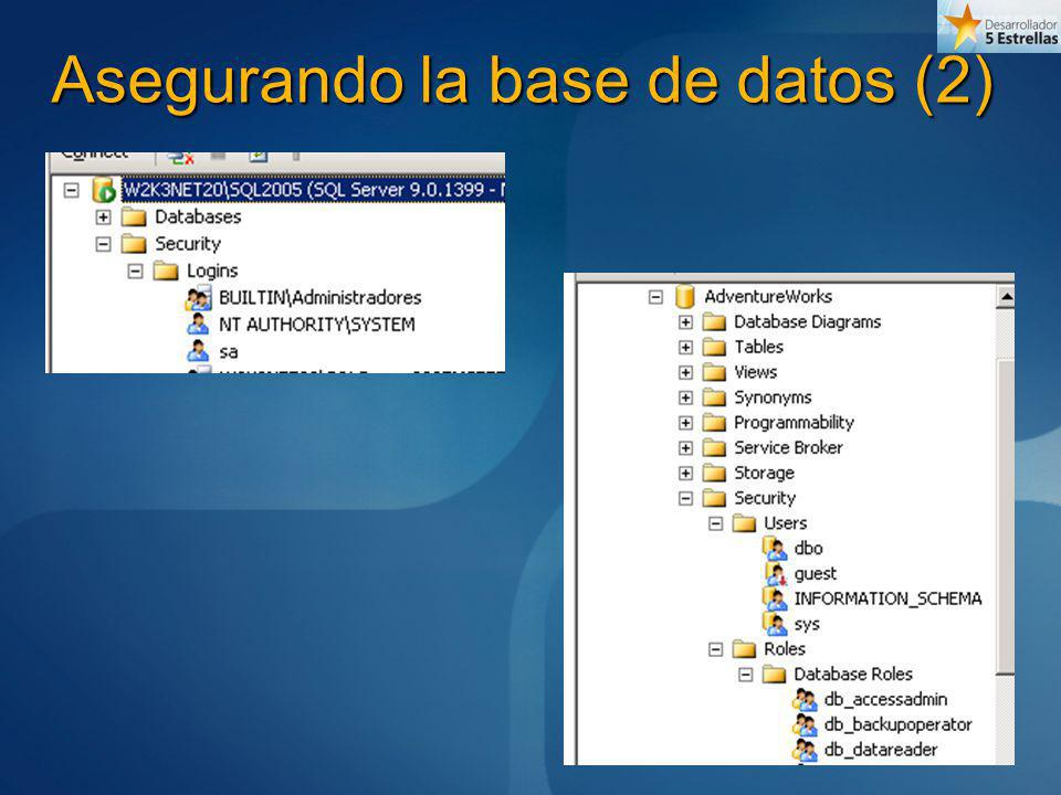 Asegurando la base de datos (2)