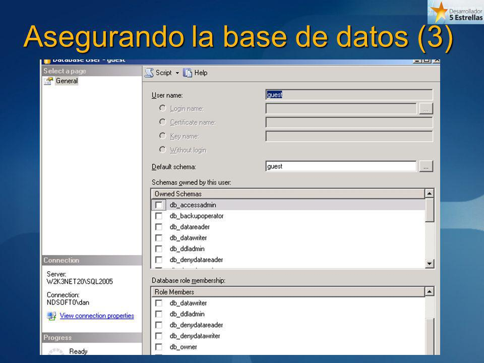 Asegurando la base de datos (3)