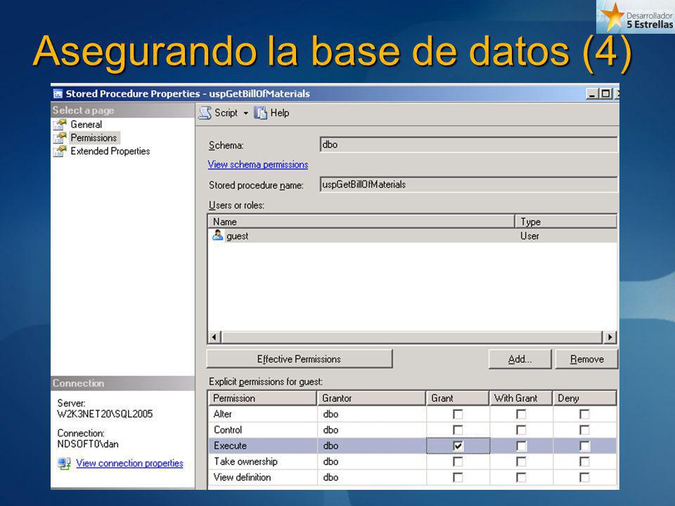 Asegurando la base de datos (4)