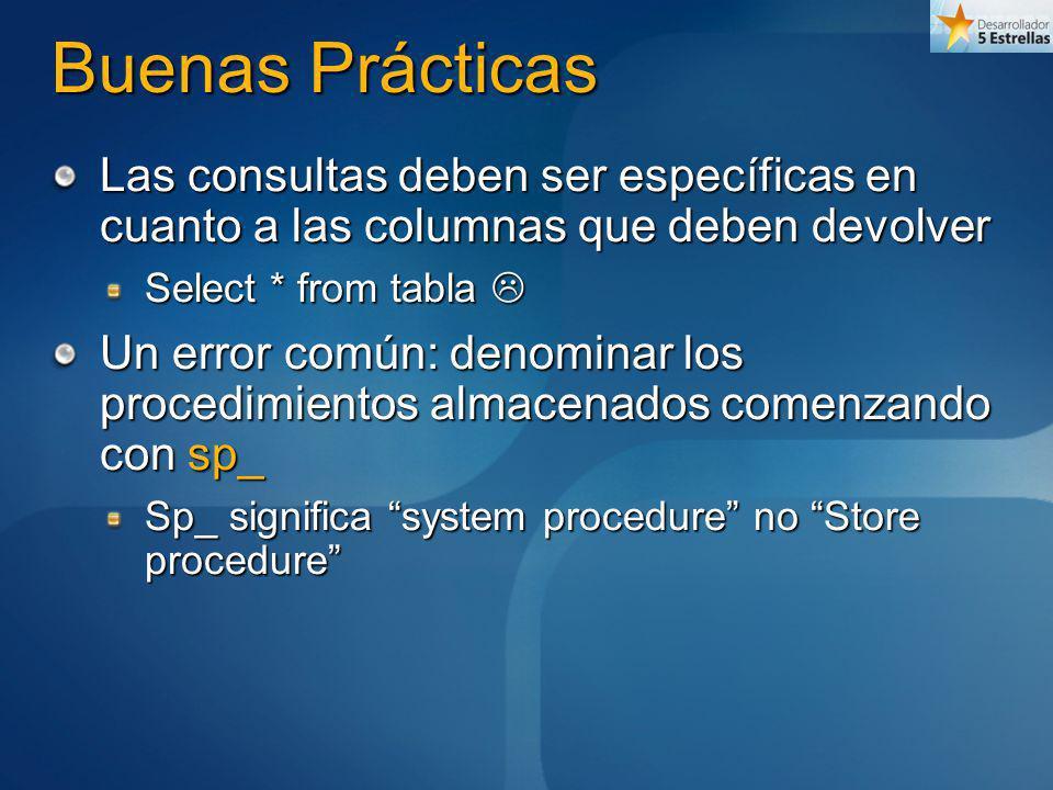 Buenas Prácticas Las consultas deben ser específicas en cuanto a las columnas que deben devolver. Select * from tabla 