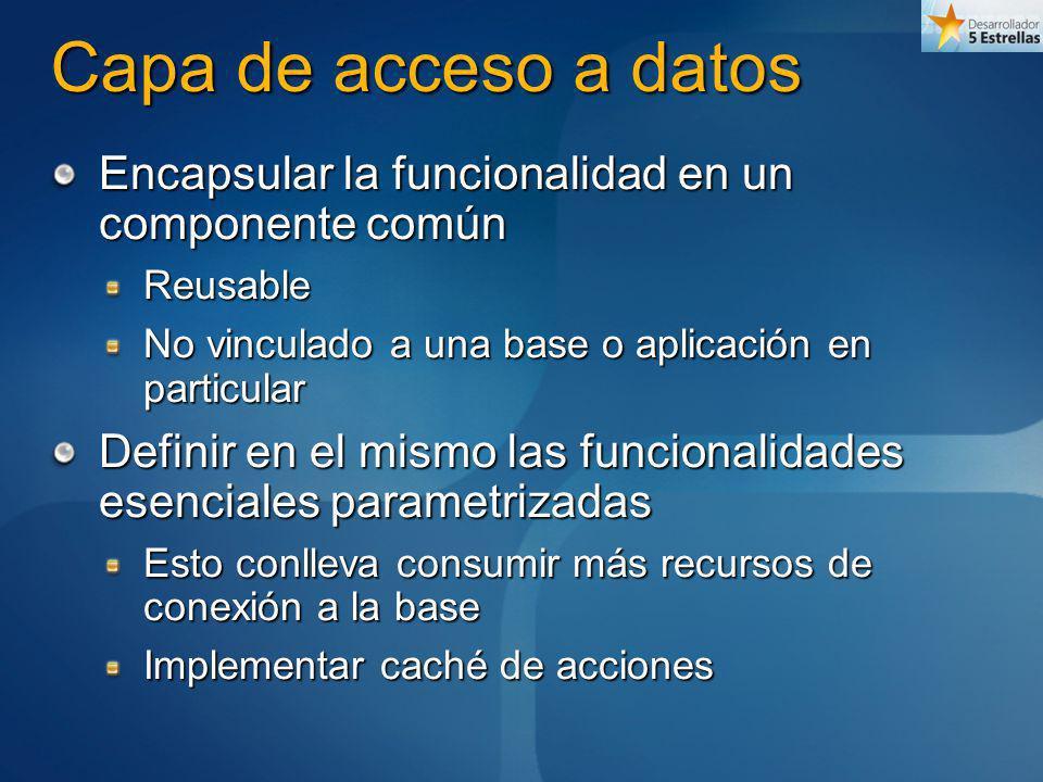 Capa de acceso a datos Encapsular la funcionalidad en un componente común. Reusable. No vinculado a una base o aplicación en particular.