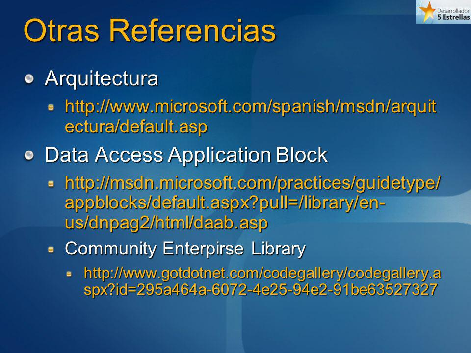 Otras Referencias Arquitectura Data Access Application Block