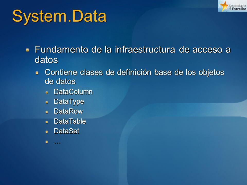 System.Data Fundamento de la infraestructura de acceso a datos