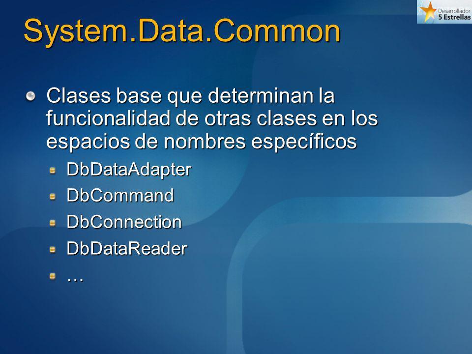 System.Data.Common Clases base que determinan la funcionalidad de otras clases en los espacios de nombres específicos.
