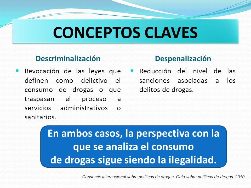 CONCEPTOS CLAVES Descriminalización. Despenalización.