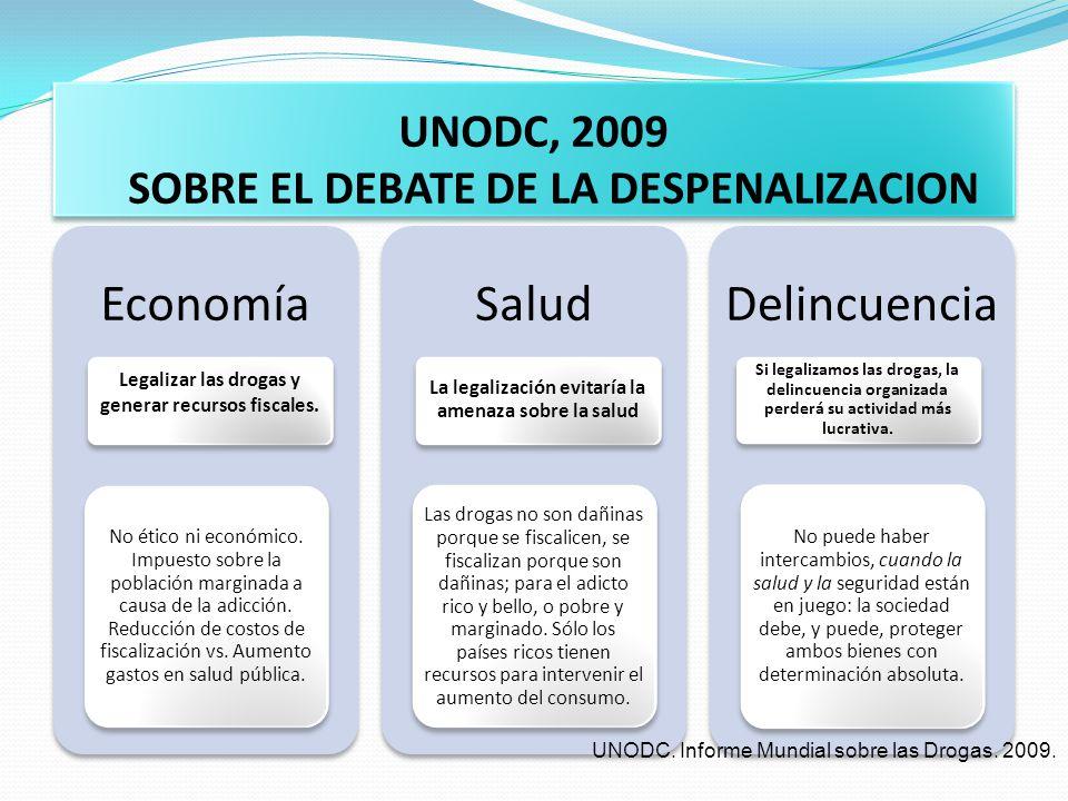 UNODC, 2009 SOBRE EL DEBATE DE LA DESPENALIZACION