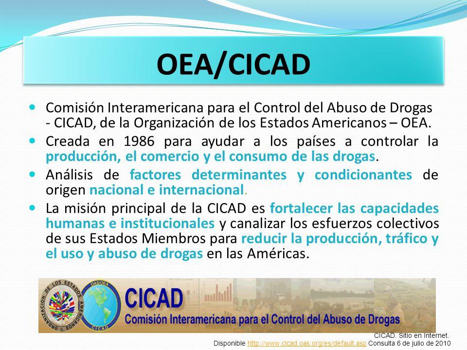 OEA/CICAD Comisión Interamericana para el Control del Abuso de Drogas - CICAD, de la Organización de los Estados Americanos – OEA.