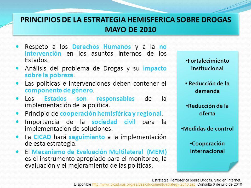 PRINCIPIOS DE LA ESTRATEGIA HEMISFERICA SOBRE DROGAS MAYO DE 2010