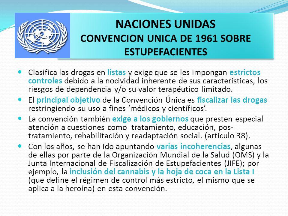 NACIONES UNIDAS CONVENCION UNICA DE 1961 SOBRE ESTUPEFACIENTES