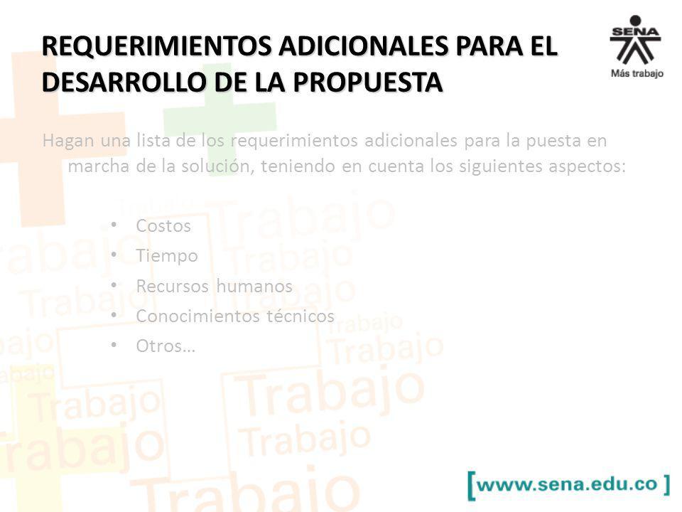 REQUERIMIENTOS ADICIONALES PARA EL DESARROLLO DE LA PROPUESTA
