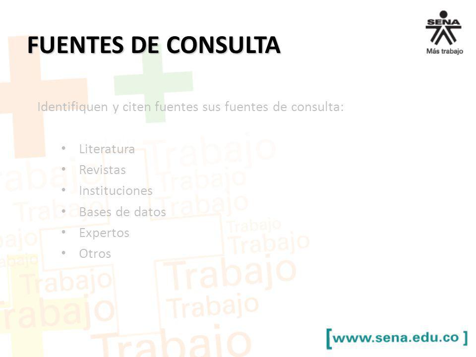 FUENTES DE CONSULTA Identifiquen y citen fuentes sus fuentes de consulta: Literatura. Revistas. Instituciones.