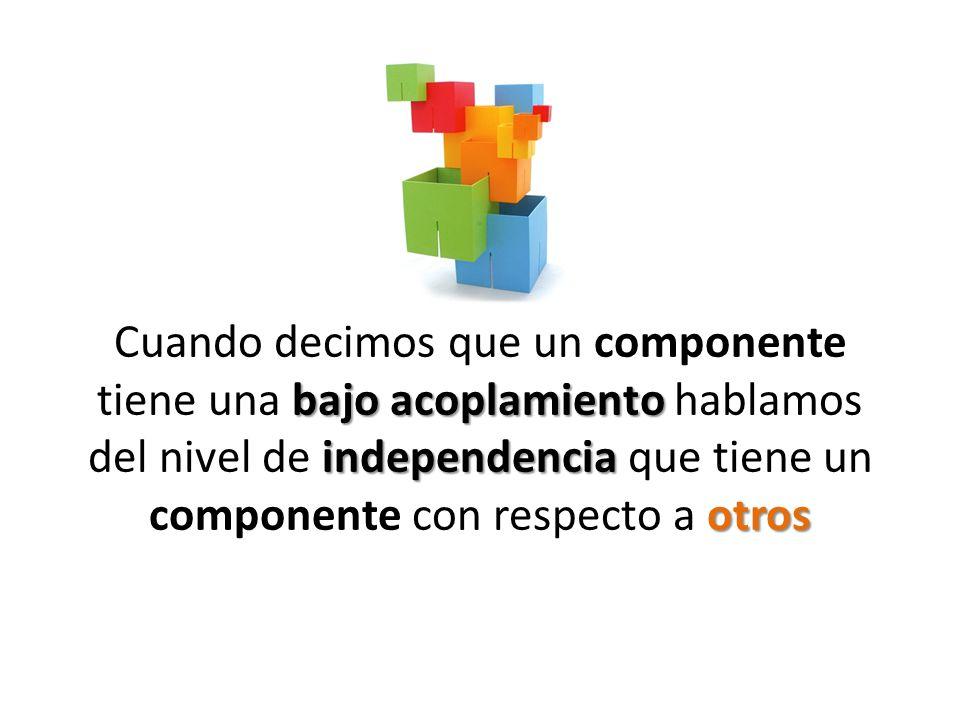 Cuando decimos que un componente tiene una bajo acoplamiento hablamos del nivel de independencia que tiene un componente con respecto a otros