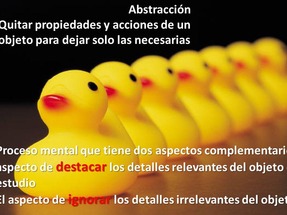 Abstracción Quitar propiedades y acciones de un objeto para dejar solo las necesarias.