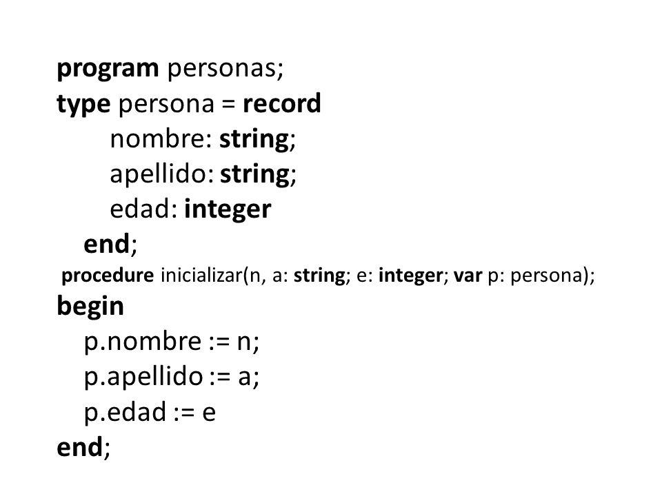 program personas; type persona = record nombre: string; apellido: string; edad: integer end; procedure inicializar(n, a: string; e: integer; var p: persona); begin p.nombre := n; p.apellido := a; p.edad := e end;