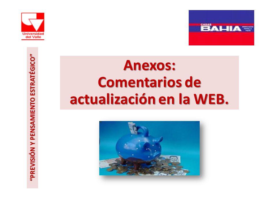 Anexos: Comentarios de actualización en la WEB.