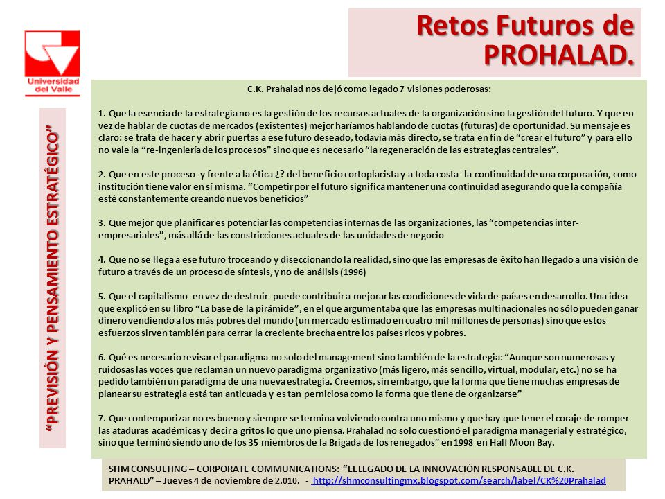 Retos Futuros de PROHALAD.