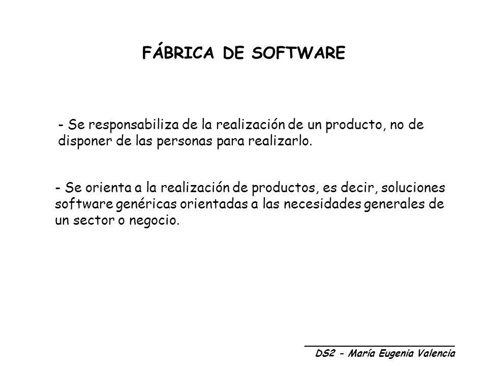 FÁBRICA DE SOFTWARE Se responsabiliza de la realización de un producto, no de disponer de las personas para realizarlo.