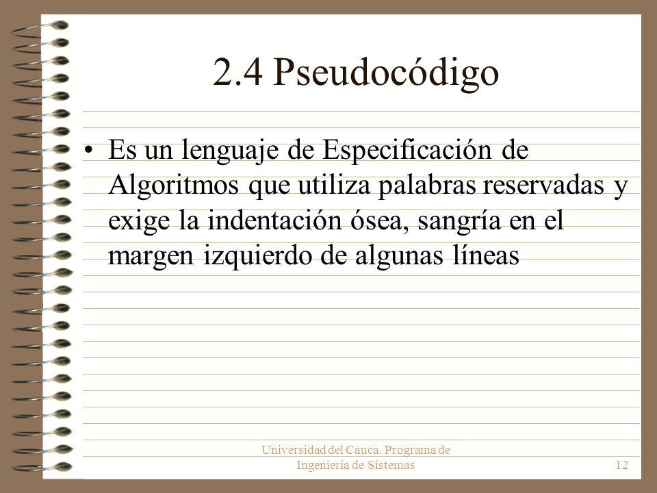 Universidad del Cauca. Programa de Ingeniería de Sistemas