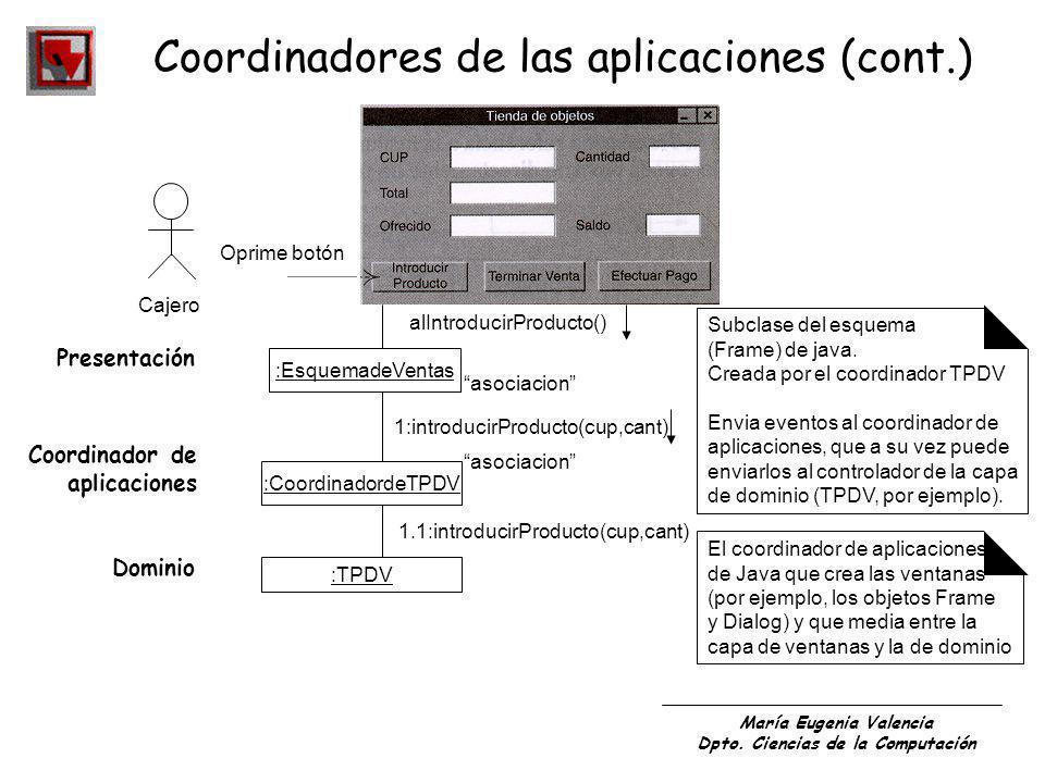 Coordinadores de las aplicaciones (cont.)