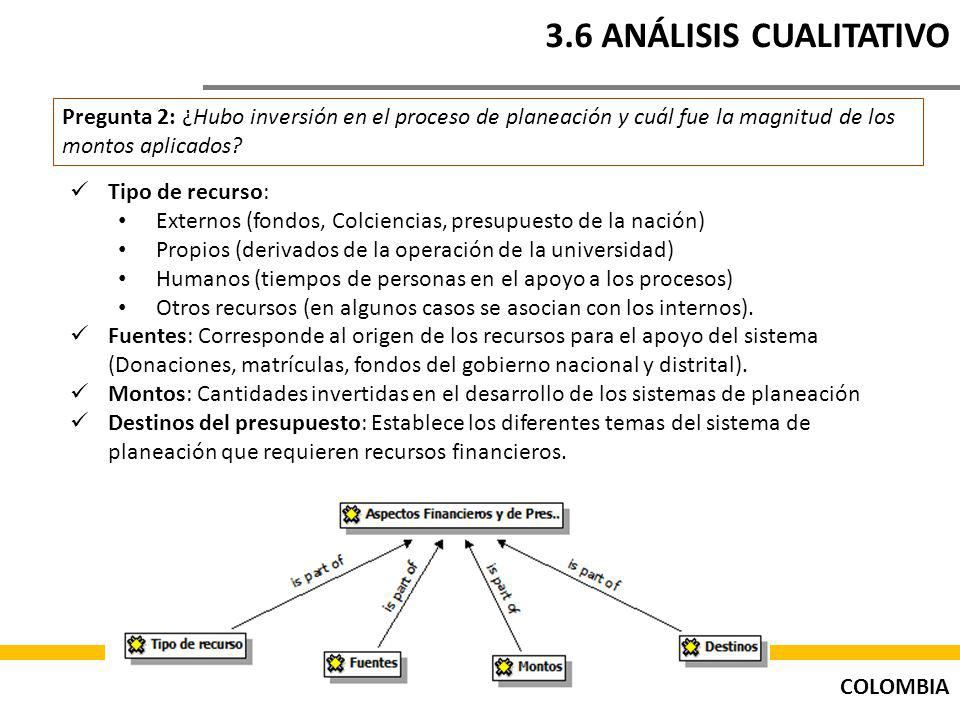 3.6 ANÁLISIS CUALITATIVO Pregunta 2: ¿Hubo inversión en el proceso de planeación y cuál fue la magnitud de los montos aplicados