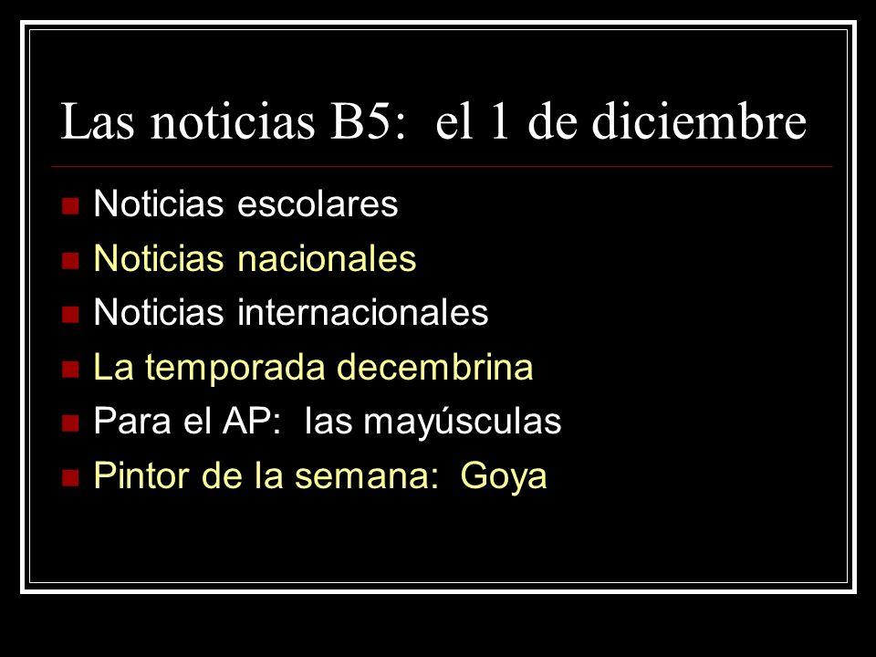 Las noticias B5: el 1 de diciembre