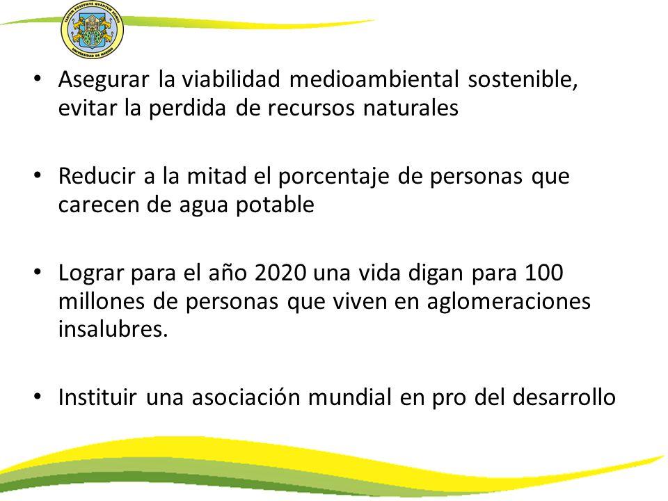 Asegurar la viabilidad medioambiental sostenible, evitar la perdida de recursos naturales
