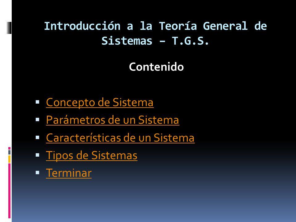 Introducción a la Teoría General de Sistemas – T.G.S.